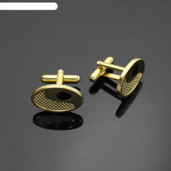 Запонки классика овал, цвет чёрный в золоте