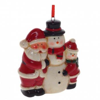 Украшение новогоднее дед мороз и снеговик, l8 w3,5 h9 см