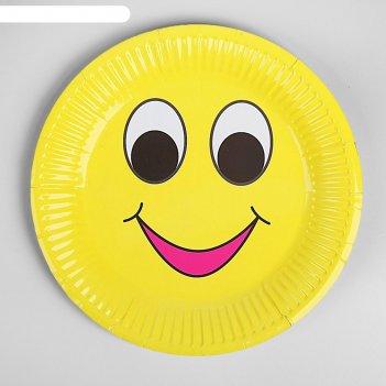 Бумажная тарелка забавный смайл (набор 6 шт), виды микс