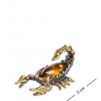 Am-1290 фигурка скорпиончик (латунь, янтарь)
