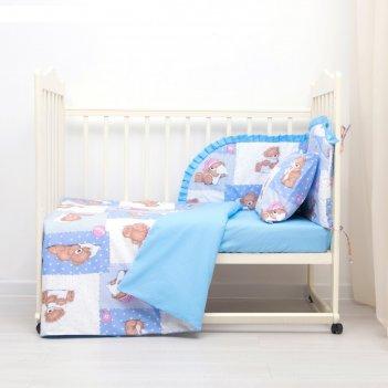 Комплект в кроватку (4 предмета), диз. мишки на голубом/горошек на голубом