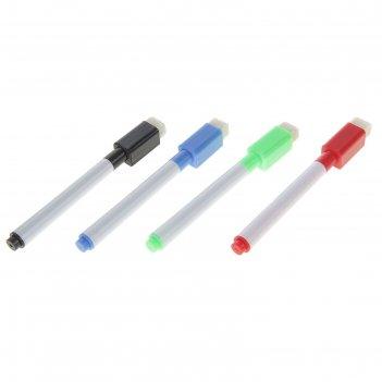 Маркер цветной на водной основе с губкой, набор 4 шт