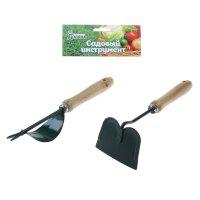 Инструмент садовый, 2 предмета, 33 см, рукоять дерево