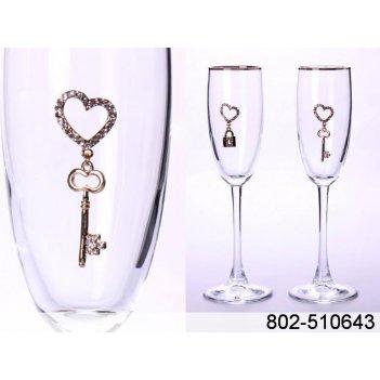 Набор бокалов для шампанского из 2 шт. с золотой к...