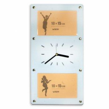 Белые настенные часы с фоторамками 10х15см (2шт) fr0206 20х4
