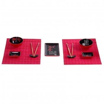 Набор для суши красная сакура на черном, 11 предметов