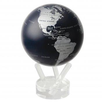 Глобус мобиле d12 см с  политической картой мира, цвет серебро