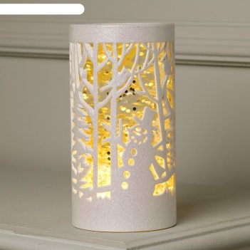 Фигура световая свеча снеговик в лесу, 19х10х10 см, 3*аа(не в компл.), т-б