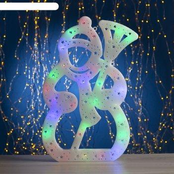 Фигура снеговик с метлой 40х25 см, пластик, 40 led, 240v мульти
