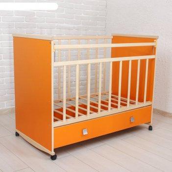 Детская кроватка садко с ящиком, цвет оранжевый