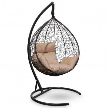 Подвесное кресло sevilla черное + бежевая подушка