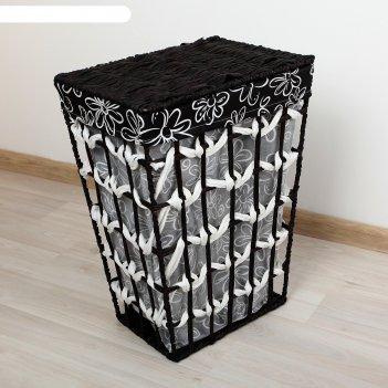 Корзина для белья плетеная прямоугольная 38х30х48 см ромашки
