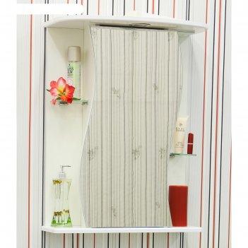 Шкаф-зеркало лина 55 белый глянец, левый