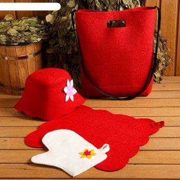 Набор банный портфель сумка красная шапка,коврик,рукавица рэд
