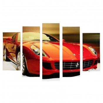 Модульная картина красная машина (2-23х52; 2-24х70; 1-24х80) 120х80см