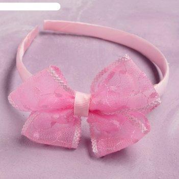 Ободок для волос школьница 0,8 см узоры ромбики, розовый