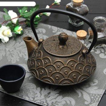 Чайник с ситом 800 мл джана. золото. этно, цвет черный