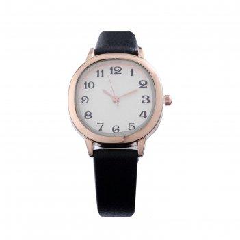 Часы наручные женскиеиса, d=3 см, экокожа, чёрные