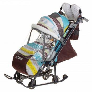 Санки-коляска ника детям 7-3/6, цвет: скандинавский бирюзовый, принт