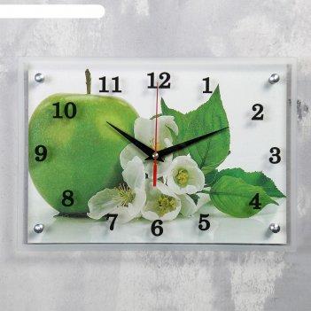 Часы настенные прямоугольные яблоко, 25х35 см