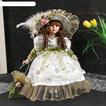Кукла коллекционная керамика лидия в оливковом платье с цветами с зонтом 3
