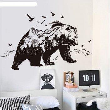 Наклейка пластик интерьерная медведь - царь тайги 60х90 см