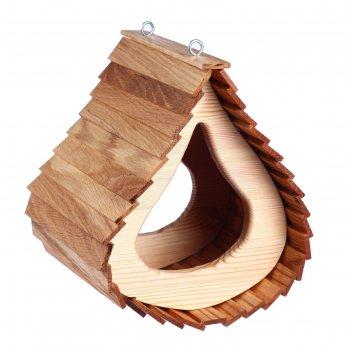 Кормушка капля, 22*22*28см; материал: дуб, сосна; покрытие: масло