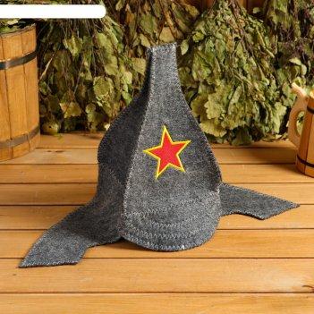 Банная шапка-буденовка звезда, серая