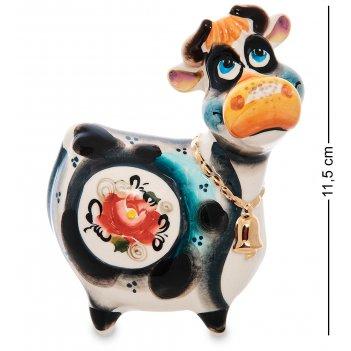 Гл-657 фигурка корова с колокольчиком цв. золото (гжельский фарфор)