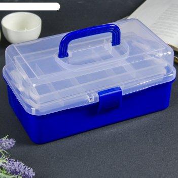 Шкатулка пластик для мелочей ящичек микс выдвижные ярусы 14,5х31х16,5 см
