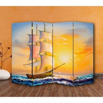 Ширма картина маслом. парусная лодка, двухстороняя, 200 x 160 см