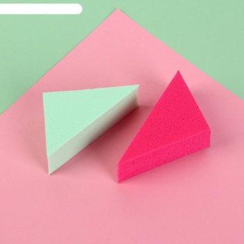 Набор спонжей д/макияжа 2шт треугольники 6,5*4*2см микс пакет qf