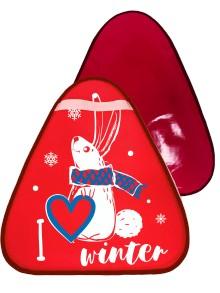 Мт12517 сани-ледянка треугольная зайчик цвет красный, 42*48см