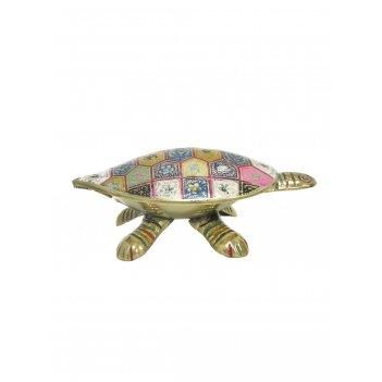 Шкатулка черепаха латунь с цветной эмалью 5,5