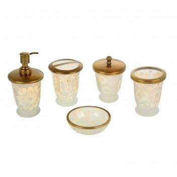 Набор для ванны жемчуг, 5 предметов: дозатор, мыльница, 3 стакана