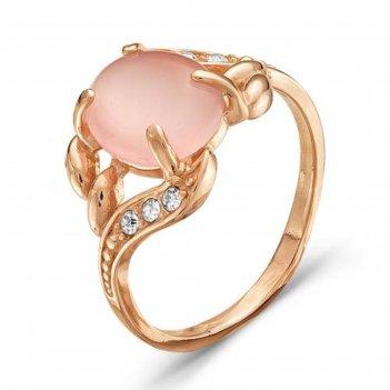 Кольцо позолота кошачий глаз, цвет розовый, 18 размер