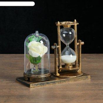 Часы песочные роза, 15х9х14 см микс