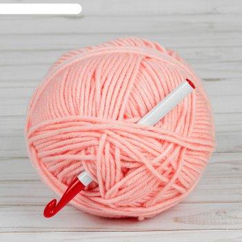 Крючок для вязания, d = 10 мм, 15 см, цвет белый/красный