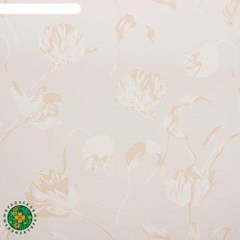 Тюль этель цветочная иллюзия (бежевый) без утяжелителя, ширина 135 см, выс