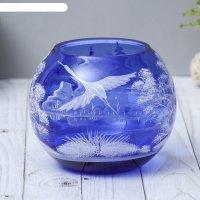 Ваза-шар журавль, синяя