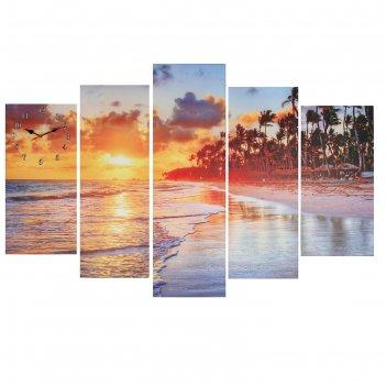 Часы настенные модульные «закат на пляже», 80 x 140 см