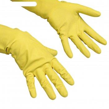 Перчатки vileda контракт для профессиональной уборки, размер s, цвет жёлты