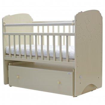 Кроватка  детская софья (облака). маятник , ящ. на кол.,  120 x 60 см  (сл