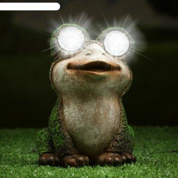 Садовый светильник лягушка на солнечной батарее, 14,5 см