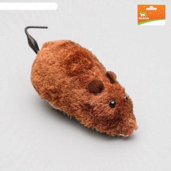 Мышь заводная меховая, 12 см, коричневая