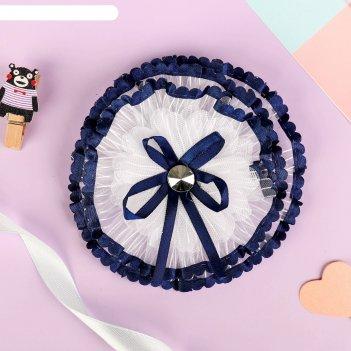 Резинка для волос школьница 11 см синий кантик с лентой
