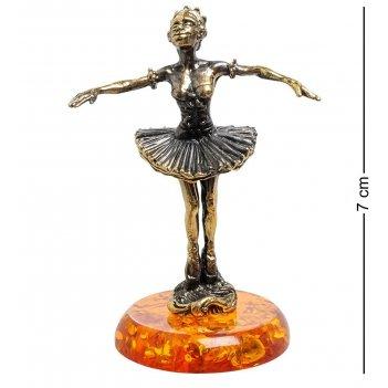 Am-1813 фигурка балерина (латунь, янтарь)