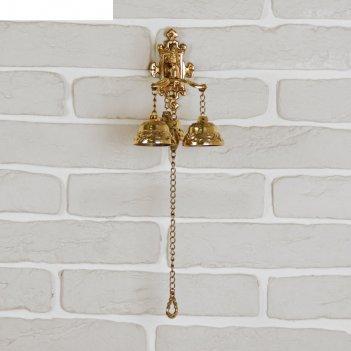 Рында латунь с цепочкой дракон (3 колокола) 16х14,5х13 см