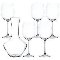 Набор для вина из 5-ти предметов: декантер + 4 бокала, материал: хрусталь,