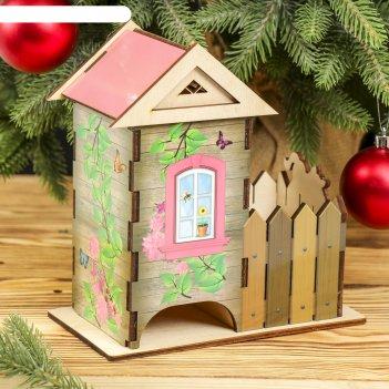 Чайный домик домик с забором цветной 12х13х19,5 см  микс